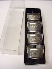 4 MADAME & MONSIEUR Silver Brass Vintage Set ENGRAVED NAPKIN RINGS in box EUC
