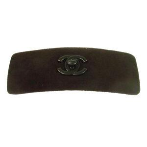 CHANEL Vintage CC Logos Hair Barrette Brown Suede Accessories Authentic AK36790k