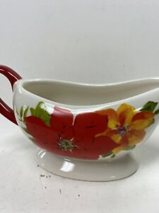 The Pioneer Woman RED POINSETTIA Christmas Holiday Oval Gravy Sauce Boat