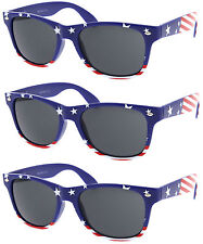 3 PAIRS BLUE STARS American USA Flag Retro Sunglasses United States wholesale