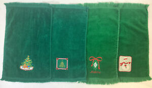 """Lot Of 4 Green Embroidered Christmas Holiday Hand Towels 11""""x18"""""""