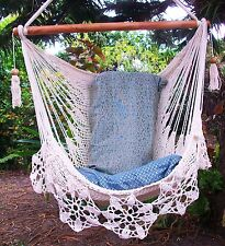 Hammock chair flower crochet handmade cotton rope/Bedroom living hanging chair