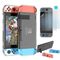 For Nintendo Switch Hard Clear Case 3 Parts Cover+3x HD Screen Protector Film US