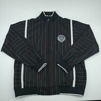 Enyce Mens Black Long Sleeve Striped Zip Up Jacket Size Large