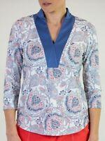 JoFit Shirt Golf 3/4 Sleeve Dixie Red White Blue Womens Size M UPF 30 NWT $88