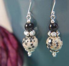 Dalmatian Jasper & Black Agate Gemstone & 925 STERLING SILVER Earrings