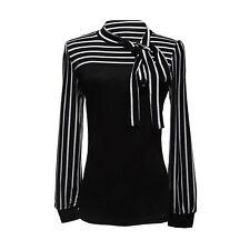 Damenbluse Stehkragen Blus T-shirt Hemd Streifen  TOP Gr. M  Schwarz DE E6R8