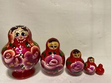 Russian Nesting Dolls Matreshka Beautiful Flowers! 5 pcs! Nice Christmas Gift!