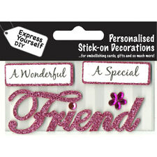 Friend DIY Greeting Card Toppers MIP Glitter Handmade Scrapbooking Craft NEW