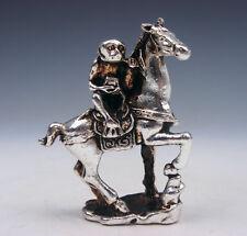 Plata Tibetana Cobre Crafted Escultura Miniatura traviesos MONO montar caballo