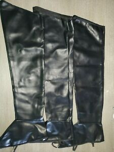 PAIR AND A SPARE WOMEN BLACK PIRATE BOOT COVERS HALLOWEEN COSTUME 3 PC LOT