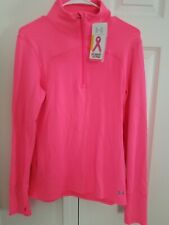 NWT$60 Under Armour Womens UA Printed Qualifier ¼ Zip Jacket Pink Sz L 1241064