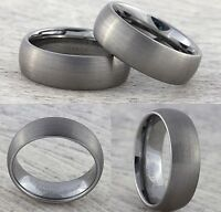 Tungsten Carbide 8mm Mens Wedding Band Womens Brushed Silver Ring Sizes J to Z+3