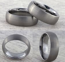 8mm Tungsten Carbide Mens Wedding Band Womens Brushed Silver Court Ring J to Z+3