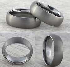 8mm Tungsten Carbide Mens Womens Wedding Band Brushed Silver Ring Sizes I to Z+3