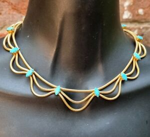 Classic gold tone mesh turquoise crystal collar necklace 1970s vintage designer