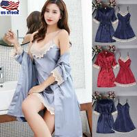 Women's Satin Silk Lace Robe Dress Nightdress Lace Lingerie Nightgown Sleepwear