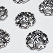 20pcs Antique Silver Heart Bead Caps 10mm (Fits 12-14mm Beads) LN Free B25875
