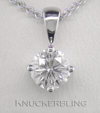 0.50ct F SI Exc Round Brilliant Cut Diamond & 18ct White Gold Pendant with Chain