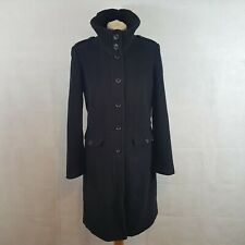 Next Womens Winter Coat Black UK10 Wool Cashmere Military Style Single Rear Vent