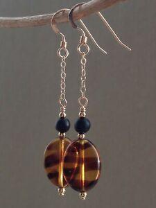 Vintage Tiger Stripe & Matt Black Glass 14ct Rolled Gold Earrings
