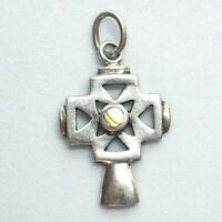 Modern Abalone Cross Crucifix 925 Sterling Silver Pendant