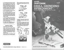 Craftsman 9-6677 Drill Grinding Attachment Manual