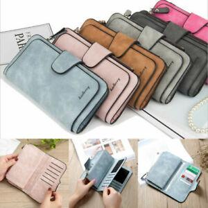 Women Ladies PU Leather Zip Clutch Long Wallet RFID Blocking Zip Wallet Purse