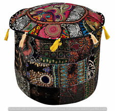 """Indian 22"""" Black Patchwork Ottoman Pouf Cover Vintage Footstool Seat Covers"""