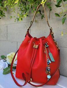 Coach legacy vermillion drawstring handbag purse textured leather 25306 bag EUC