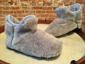 Dearfoams Grey Frost Faux Fur Short Women's Bootie Slipper XS 4-5 35 New