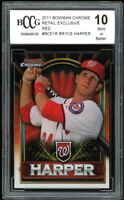 2011 Bowman Chrome Retail Red #BCE1S Bryce Harper Rookie Card BGS BCCG 10 Mint+