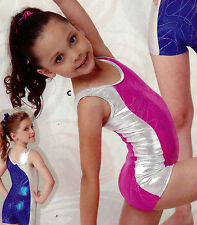 NWT Pink Foil shorty unitard XLarge child Girls 14-16 tank style Gymnastics Acro