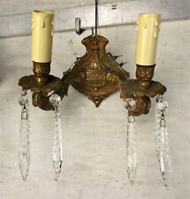 Pair Couple Brass Two-Arm Double Wall Sconces Prisms Hollywood Regency Style