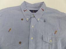 NWT Ralph Lauren Oxford Shirt NAUTICAL FLAGS/ANCHORS/LIGHTHOUSES Men's 2XL   TOU