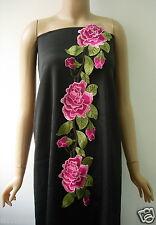 VT277 Huge Fuchsia Tone Rose Peony Floral Lace Venise Applique Sew On Fashion