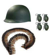 Army Combat Kit Helmet Hat Fake Bullet Belt Bandolier Toy Grenades With Sound