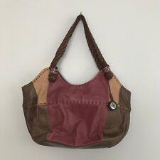 The Sak Purple Brown Leather Boho Shoulder Purse Handbag