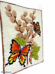 "Vintage 70's Butterfly Latch Hook 28"" x 20"" Rug Wall Hanging Large Retro  Decor"