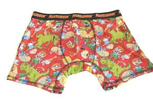 Nickelodeon Rugrats Reptar Ren Stimpy Hey Arnold Boxer Briefs Size Large Red