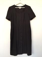 JAEGER UK size 14, black short sleeved button up dress.