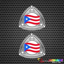 2x PUERTO RICO ROTOR WITH FLAG VINYL CAR STICKERS DECALS