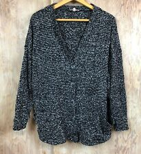 Loose Oversize Cardigan Sweater Front Buttons & Pockets Black & White SMALL