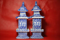 1pair Rare Antique Blue and white porcelain jar pagoda in ancient China 96