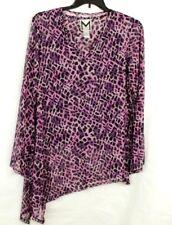 Marc Bouwer Purple Animal Print Asymmetrical Mesh Top & Tank Set Size L