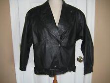Black Leather Jacket S Women's Custom Lined Coat Bomber Biker Belt Roomy Pockets