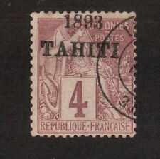 Kingscrossing - Tahiti stamp #19 Used 1893 overprint date  CV $1500