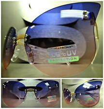 VINTAGE RETRO SHIELD FLAT RIMLESS CAT EYE Style SUN GLASSES Purple & Pink Lens