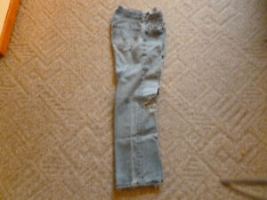 Used Levi's 501 Blue Jeans 31X30 30X28 actual size buttonfly