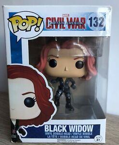 Funko Pop Black Widow #132 Captain America Civil War. Vinyl Bobble Head. Marvel